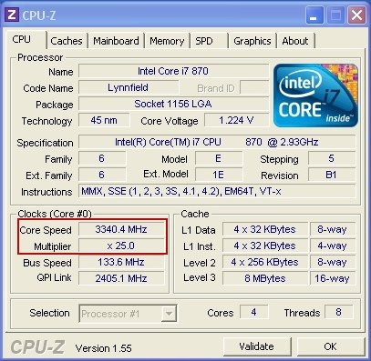 Intel Core i7 870 - Mode Turbo