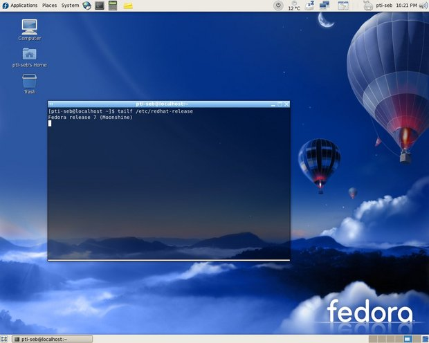Screenshot fedora core 7