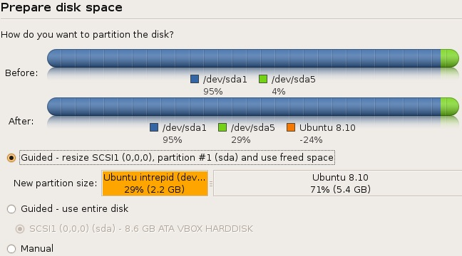 Ubuntu Intrepid Ibex - Partition