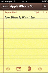 Iphone - Application de bloc notes
