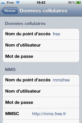 Free Mobile sur iPhone