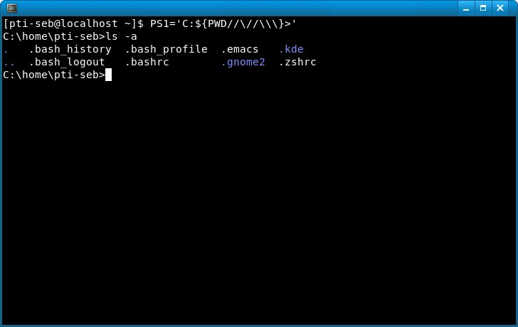 Invite de commandes MS-DOS avec un shell Linux