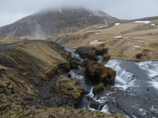Le Sud de l'Islande : La cascade de Skógafoss, vue du dessus