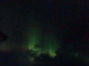 L'Est de l'Islande : Des aurores boréales. Désolés pour la qualité,  mais elles ne se laissent pas facilement prendre en photo !