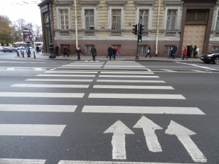 Saint-Pétersbourg: Un passage piéton fléché